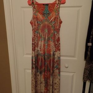Tropical Print Sun Dress Apt 9
